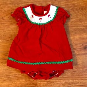 Beautiful, like new Santa smocked dress - 12 mos